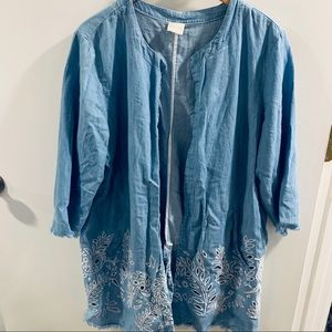 Chico's light blue cardigan with white embroidery